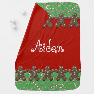 Holiday Gingerbread Men Custom Name Aiden Receiving Blankets