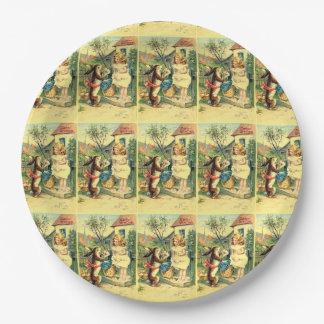 Holiday Girl & Bunny Vintage Easter Paper Plates 9 Inch Paper Plate