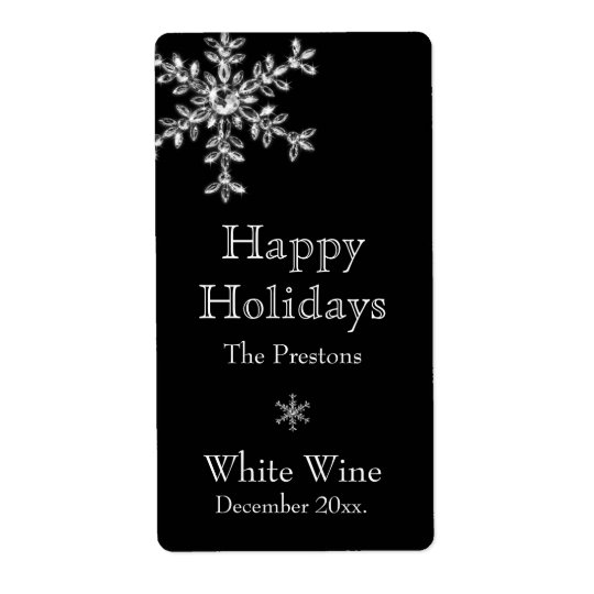 Holiday Glamour Wine Label (black) Shipping Label