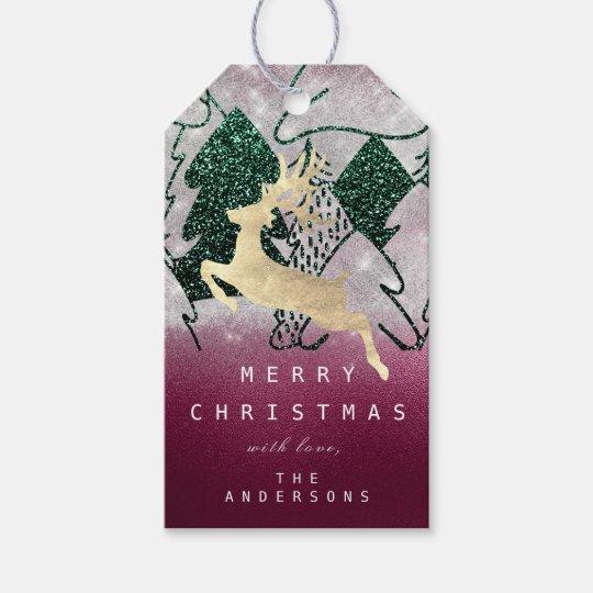 Holiday Glitter Green Snow Christmas Tree Burgundy Gift