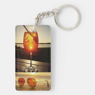 Holiday Glow Double-Sided Rectangular Acrylic Key Ring