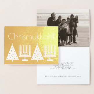 Holiday Gold Chrismukkah Add Your Photo Modern Foil Card