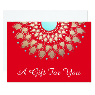 Holiday Gold Lotus Salon and Spa Gift Certificate 11 Cm X 16 Cm Invitation Card