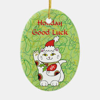 Holiday Good Luck Ceramic Oval Decoration