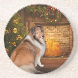 Holiday Grace Sheltie Coaster