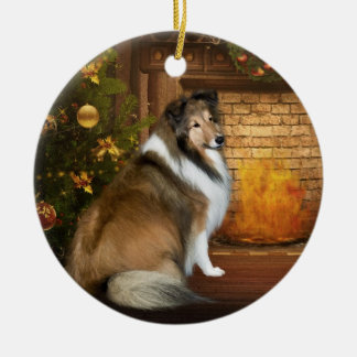 "Holiday ""Grace"" Sheltie Round Ceramic Decoration"