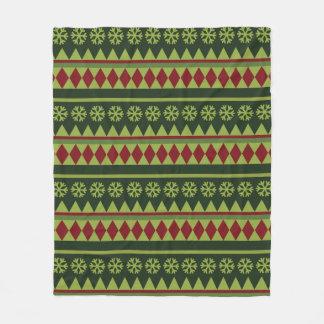 Holiday Green Argyle Pattern Fleece Blanket