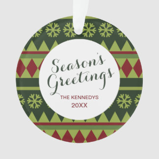 Holiday Green Argyle Pattern Ornament