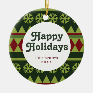 Holiday Green Argyle Pattern Round Ceramic Decoration