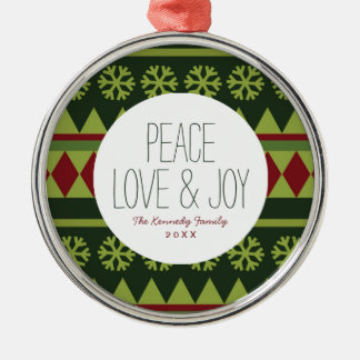 Holiday Green Argyle Pattern Silver-Colored Round Decoration