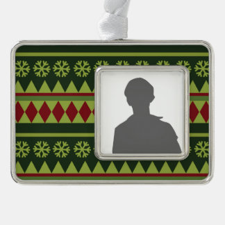 Holiday Green Argyle Pattern Silver Plated Framed Ornament
