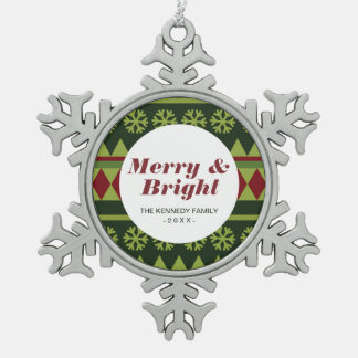 Holiday Green Argyle Pattern Snowflake Pewter Christmas Ornament