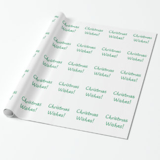 Holiday Green Font Christmas Wishes Wrapping Paper