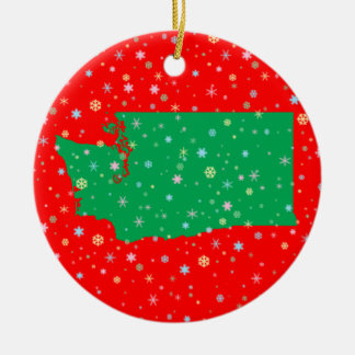 Holiday Green Red Map of Washington State Snow Christmas Ornament
