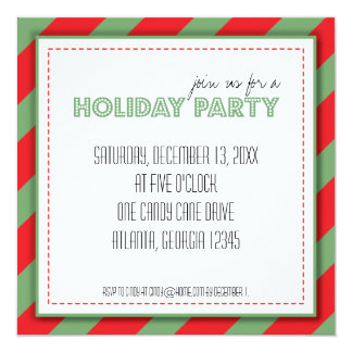 Holiday Green Red Stripes Party Invitation