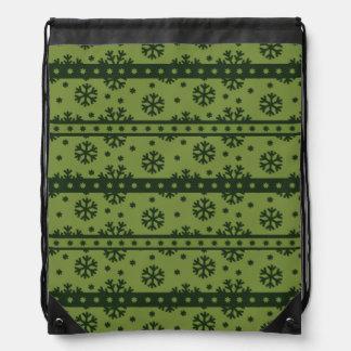 Holiday Green Snowflakes Pattern Drawstring Bag