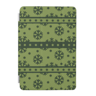 Holiday Green Snowflakes Pattern iPad Mini Cover