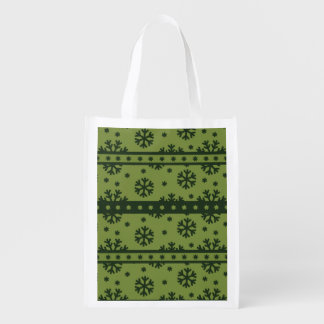 Holiday Green Snowflakes Pattern Reusable Grocery Bag