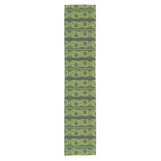 Holiday Green Snowflakes Pattern Short Table Runner