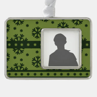 Holiday Green Snowflakes Pattern Silver Plated Framed Ornament