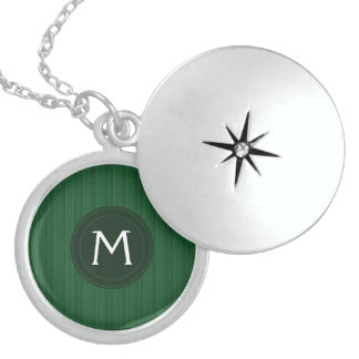 Holiday Green Stripes Pattern With Initial Sterling Silver Necklace