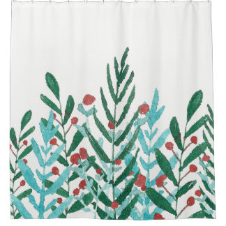 Holiday greenery and holly, Christmas watercolor Shower Curtain