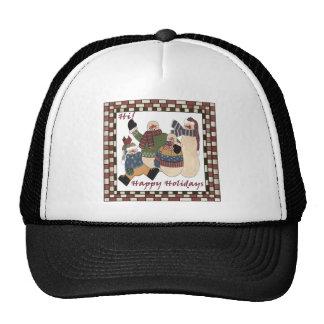 Holiday Greeting Snowmen Trucker Hat