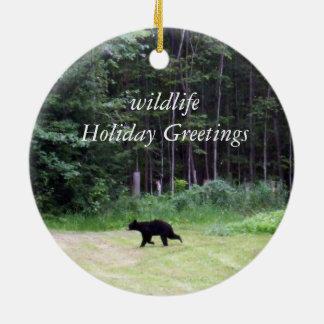 Holiday Greetings- Black Bear Round Ceramic Decoration