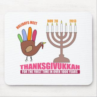 Holiday greetings.  Hanukkah meets Thanksgiving Mouse Pad