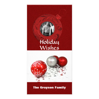 Holiday Greetings Photo Red Glitter Photo Greeting Card