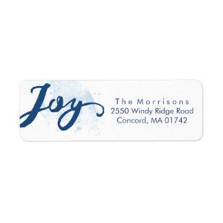 Holiday Hand-lettered Joy Blue Watercolor Return Address Label