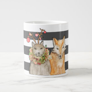 Holiday Happy Cat and Fox Giant Coffee Mug
