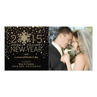 Holiday Happy New Year Snowflake Confetti Glitter Photo Card