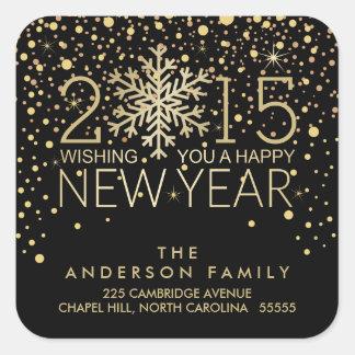 Holiday Happy New Year Snowflake Gold Confetti Square Sticker