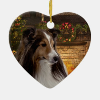 Holiday Heart Sheltie Christmas Ornament