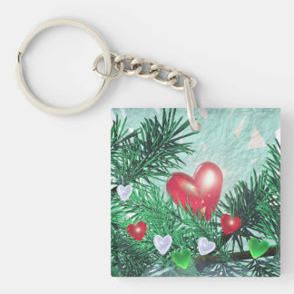 Holiday Hearts and Pine Double-Sided Square Acrylic Key Ring