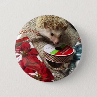 Holiday Hedgehog Button