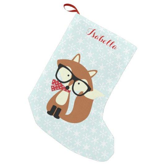 Holiday Hipster Brown Fox Small Christmas Stocking