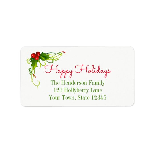 Holiday Holly Address Label