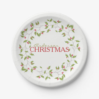 Holiday Holly Editable Paper Plates