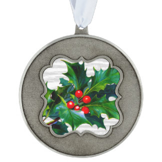 Holiday Holly Greens Red Berries Christmas Tree Scalloped Pewter Decoration