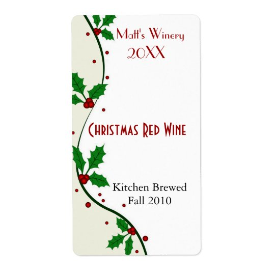 Holiday Holly Home Made Wine Labels
