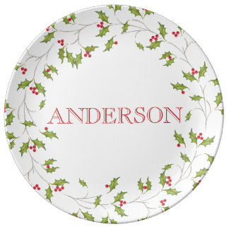 Holiday Holly Porcelain Plate. Plate