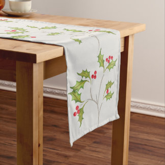 Holiday Holly Table Runner with light grey
