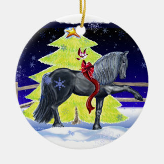 Holiday Horse Round Ceramic Decoration