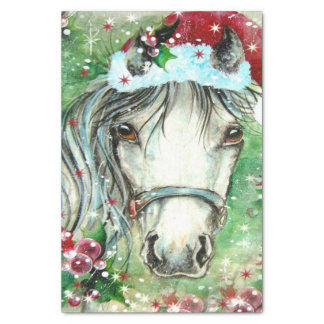 Holiday Horse With Santa Hat Tissue Paper