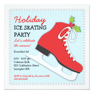 Holiday Ice Skating Celebration Party Invitation
