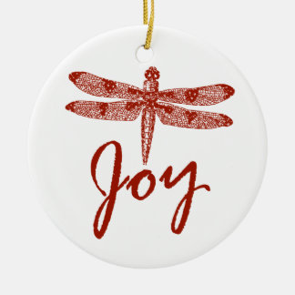 Holiday Joy Dragonfly Christmas Ornament