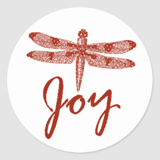 Holiday Joy Dragonfly Classic Round Sticker