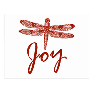 Holiday Joy Dragonfly Postcard